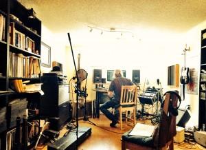Everett LaRoi recording in home studio